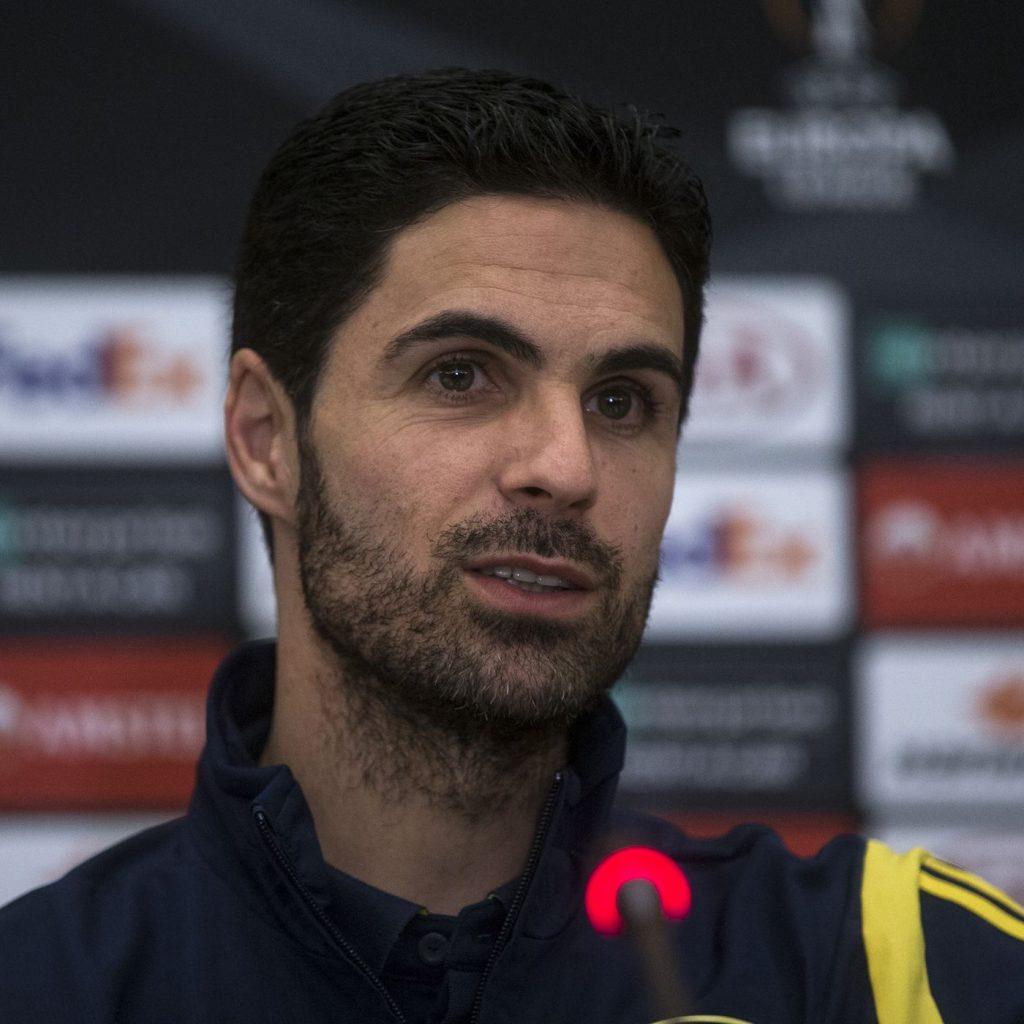 Arteta en la rueda de prensa vs. Olympiakos