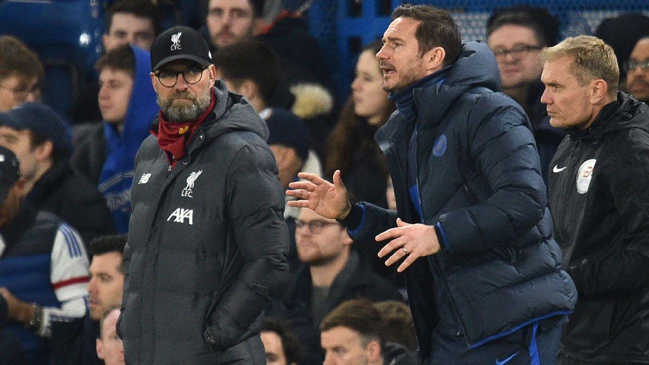 Klopp mirando a Lampard.